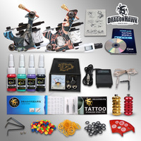 Beginner Tattoo Kit  2 Guns Set  4 color Inks Grips Needles Power Supply  D53GD