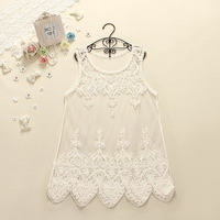 2014 spring and summer sweet elegant gauze embroidery cutout sleeveless tank dress one-piece dress basic skirt