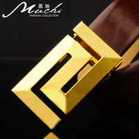 Buckle genuine leather belt male letter strap men's plate buckle cowhide formal belt