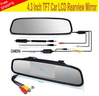 new 2014 high resolution 4.3'' inch car rearview mirror monitor LCD display monitor for DVD DVR camera English