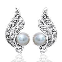 Card earring pearl earrings no pierced stud earring female stud earring