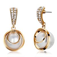 Earrings female fashion elegant austria crystal pearl stud earring accessories