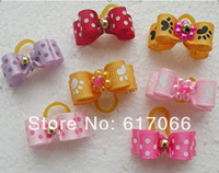 wholesale  Free Shipping 100pcs/Lot  Handmade Cat Dog  accessories with dots and footprint  Ribbon Solid Pet Dog Hair Bows