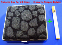 Free Shipping Leopard Pattern Pocket Leather Cigarette(20 pcs) Tobacco Case Box Holder Black And Lighter