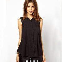 2014 New Arrival Spring Summer Style Women's Sleeveless Clasic Black Cotton Shirt, Round Neck with Sequins on Arm