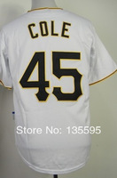 Hot Promotion!Cheap,#45 Gerrit Cole Men's White 2014 New Embroidery logos Baseball Jerseys Sale Free Shipping,Can mix order