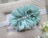 Fashion Bridal Flower Headband Girls Chiffon Flower Headband with Pearl Elastic Girls Headband Accessories 24pcs/lot