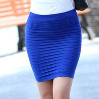2014 spring slim hip  short  pleated  bust t step female  winter   womens
