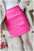 2014A new elastic bag hip skirt bamboo candy-colored horizontal stripe high waist skirt  bud
