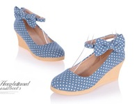 Women Elegant Polka Dots Wedge Beach Shoes with Bow Sweet Comfortable Flat Ballet Shoes Free Shipping