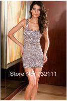 2014 New Fashion Women's Summer Brief Vintage Casual Condole Sleeveless Deep V Leopard Package Hip Sexy Night Dress ZD-0046