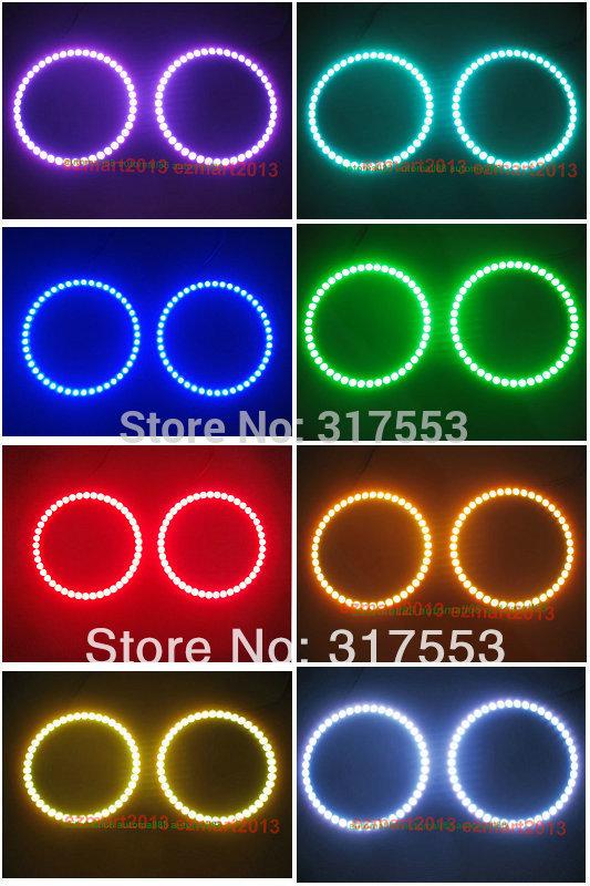 2 pcs 80mm RGB ANGEL EYES Rings FOR BMW HYUNDAI COUPE TIBURON VW PASSAT MAGOTAN Car Auto Headlight Bulbs Multi-Color Lights(China (Mainland))
