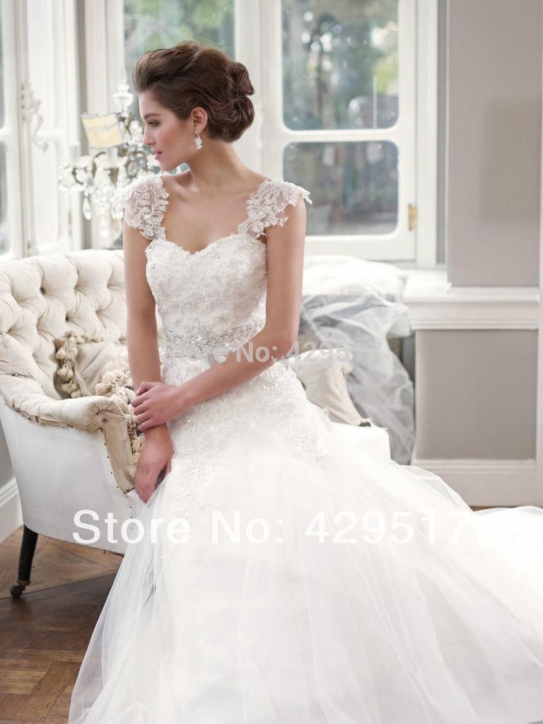 Ball gown Bridal gown Organza Wedding dress Crystal Belt -in Wedding ...
