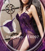 2014 Purple/Sky Blue/Wine Sexy Lingerie Style Ladies Robes Night Gown Nightwear Sexy Underwear Long Dress