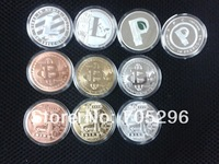 free shipping wholesale 5 pcs /lot Mix bitcoin copper / gold / silver plated & litecoin & peercoin ,2014 new hot