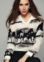 2014 women blouse roupas femininas long sleeve chiffon shirt horse printed v neck vintage blusas femininas 2014 free shipping