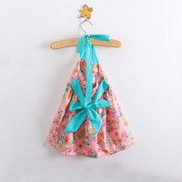 6pcs/lot wholesale High,2013 New Summer baby girl floral dress,flower strap princess dress,bowknot,lace,high quality kids clothe