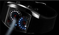 5pcs/lot Hot Sale RPM Turbo Blue Flash LED Mens Sports Car Meter Dial Watch Wrist Watch Free Shipping