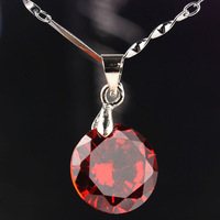 Free Shipping New Fashion Women 14k Gold Filled Red Garnet Round Pendant Chain Necklace Birthday/Valentines' Gift CB1064