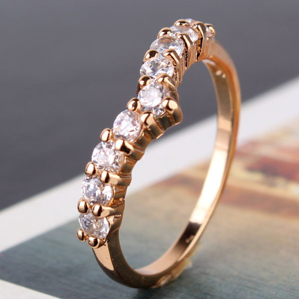 Mother Day 2014 Classic 18K Gold Plated White Crystals CZ Eternal Engagement Love Rings For Women