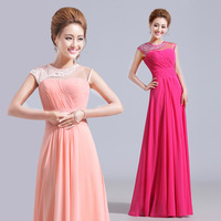 Quality luxury bridal bridesmaid red cutout design double-shoulder long formal dress evening dress