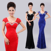 2014 double bag slim lace fish tail design long evening dress formal dress evening dress