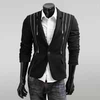 Free shipping new 2014 european american blazer punk style men fashion suit jacket multi- zipper design men's casual suit