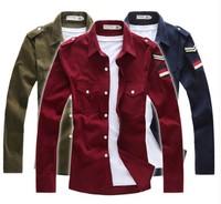 Corduroy2014 Men t Shirt Long Sleeve Casual Cotton Shirts 6 colors Shirt Long Sleeve Free shipping