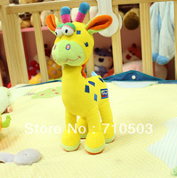 hot infant bed/car hanging giraffe baby stuffed animals plush rattle bed bells toys