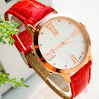 500pcs/lot  Casual Watch Roman numerals Crystal hours Sports Watches PU Strap Rose gold Ladies Quartz watch Analog Wristwatches