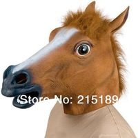 Free shipping High quality Creepy Horse Mask Head Halloween / Christmas Costume Theater Prop Novelty Latex Rubber