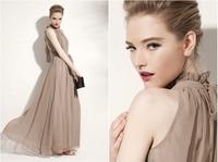 2014 American Shoulder Stand Collar Siamese Long Dress Sweet Ladies' Formal Chiffon Back Collar Opening Bohemian Dress 9 Colors