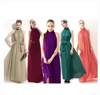 2014 new fashion bohemian prom and long dress  women's  girl's Chiffon / georgette Khaki Pink color