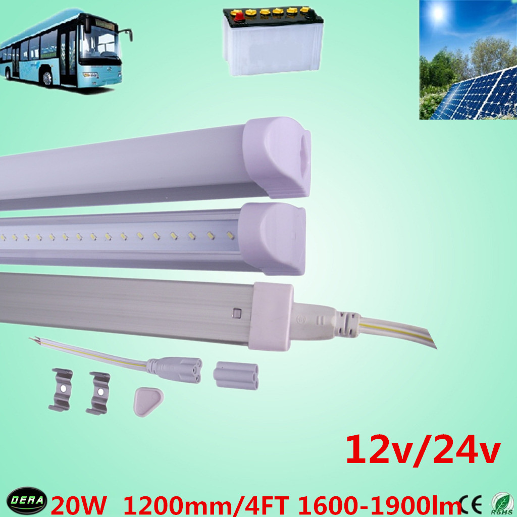 free shiping 4pcs 20w 12v T5 led tube 20w solar tube 1600-1900lm 4ft led bulb 24v t5 fluorescent tube bus light(China (Mainland))