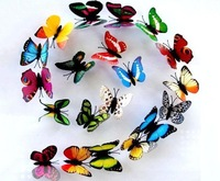 Cheap Sale! 50pcs/lot  Waterproof  7cm Colorful 3D Artificial Butterflies Sticker with Magnet Fridge Magnets Free Shipping