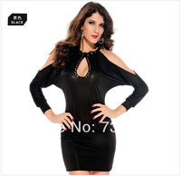 2014 New Fashion Women's Spring Sexy Vintage Brief Long Sleeve Split Sleeve Hollow Out Casual Dress ZD0047
