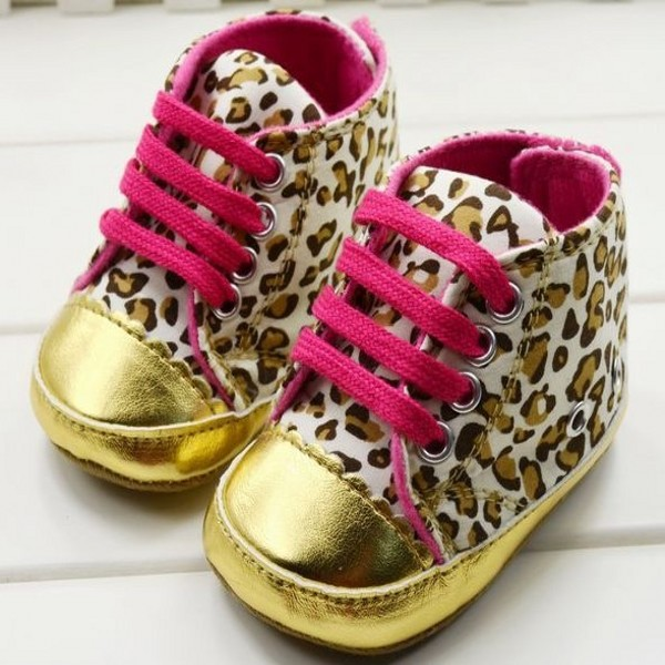 Hot Sale Cute Soft Gold Sole Crib Striped Baby Shoes Infant Toddler Wing Kid Velcro Leopard First Walkers Free&Drop shipping(China (Mainland))