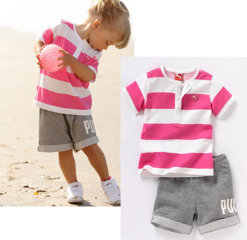 retail 2014 summer new design children clothing set for baby girl red white striped shirt gray casual pants high quality(China (Mainland))