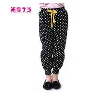 Free shipping #1412018 fashionable kids girl 100% cotton polka dot pants for baby girl corduroy wide leg pants