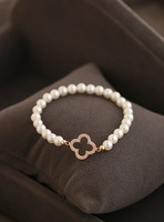 Autumn and winter luxury 925 pure silver noble pearl bracelet mix match other bracelet