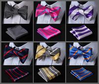 Stripe Classic 100%Silk Jacquard Woven Men Butterfly Bow Tie BowTie Pocket Square Handkerchief Suit Set