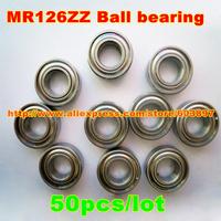 50pcs /lot MR126ZZ MR126ZZ 6X12X4mm 6*12*4mm MR126-2Z metal shielded steel miniature ball bearing