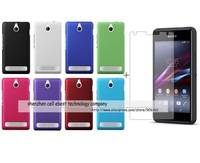100% wholesale-Newest Matte hard rubber case cover+1x clear screen protector lcd film For Sony Xperia E1
