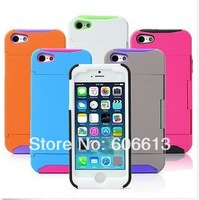 New Silicone Credit Card Holder Hard Shell Stand Combo Case Cover For iPhone 5  Free shipping 6pcs/lot
