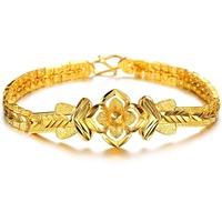#BA101047 Brilliant and Fashion Popular Woman Bracelets Bangles Gold Plated Lady Flower Bracelet Free Shipping