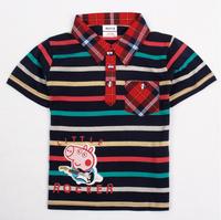 Free shipping NWT 5pcs/lot 18m~6y boy printed peppa pig short sleeve stripe polo shirt with plaid pocket & collar