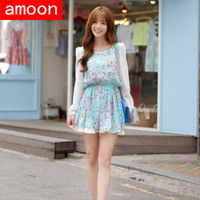 Amoon / Women Spring Summer Autumn Cute Lady Print Chiffon Dress / Free Shipping/ Free Size/ 2 Colors/ Full Sleeve