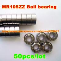 50pcs /lot MR105ZZ MR105ZZ 5X10X4mm 5*10*4mm MR105-2Z metal shielded steel miniature ball bearing