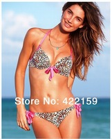 Hot 2014 New Sexy Leopard women Swimwears Underwire cups Push Up Bikinis Set Size S,M,L free shipping