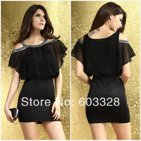 2014 New Fashion Women's Summer Vintage Brief Chic Bat Sleeve Show Thin Black  Short Sleeves Sexy Dress  ZD-0048